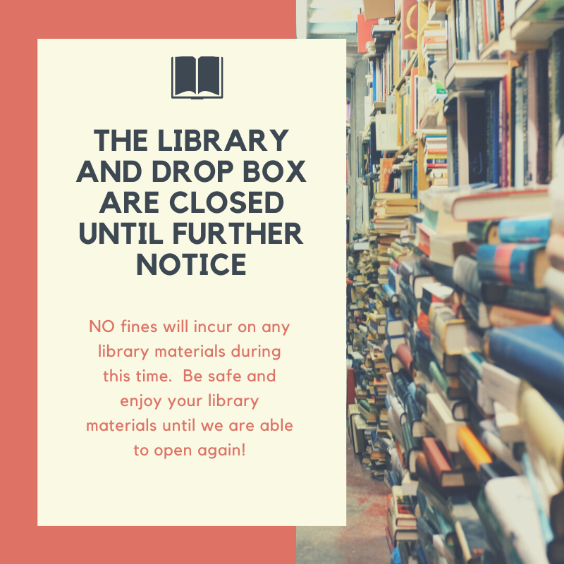 Library and Book Drop Closed Media graphic